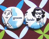 bride and groom-1 Inch Pinback Button Duo
