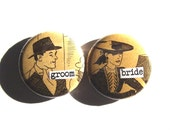 bride and groom-1 Inch Button Duo