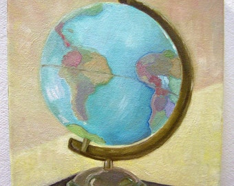 Original Oil Painting-Portrait of A Large Globe