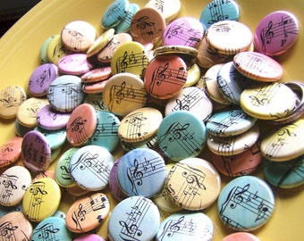 Spring Wedding Favours Perfect for Musicians or Music Lovers - Handmade 1 Inch Pinback Buttons - Loves Sweet Song