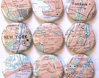 New York- 1 Inch Pinback Button Set of 9