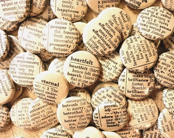 Vintage Dictionary Inspired Handmade Wedding Favors -  100 One Inch Pinback Buttons - Words Enough For A Lifetime Together