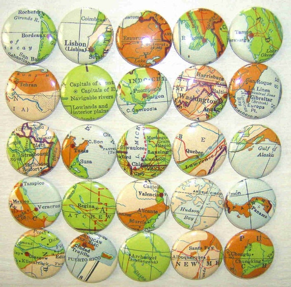 Around The World In 25 Buttons-25 1 Inch Pinback Buttons