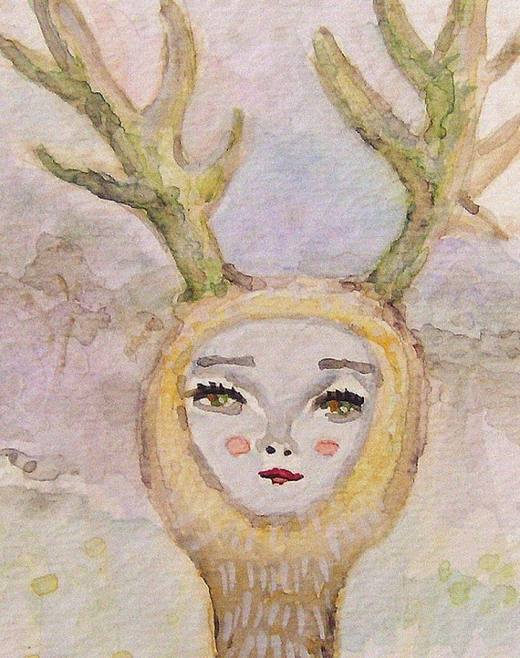Original ACEO - Moss Only Grew On The North Side Of Her Antlers