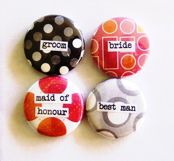 1 Inch Pinback Button Quad - Bride and Groom and Maid Of Honour and Bestman