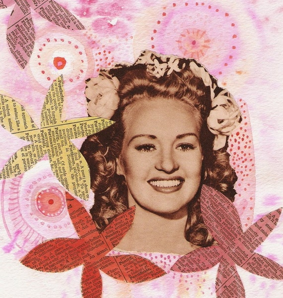 Original Mixed Media Collage - Betty Grable Goes Electric