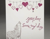 Wolfie Sentiments - Letterpress Greeeting Card