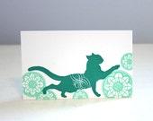 Emerald Cat Letterpress Tag - 6 Pack