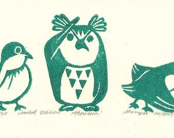 Linocut print, relief print, wood cut print,  Little birds,  Atten-tion, Green, Original Print
