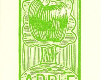 Linocut Print, Relief Print, Original print, Limited edition, Green Apple, Wood cut print, Apple tree