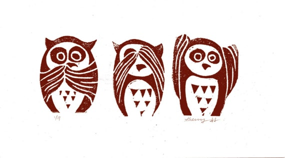 Linoleum Cut Linocut See, Hear, Speak No Evil Owletts Print