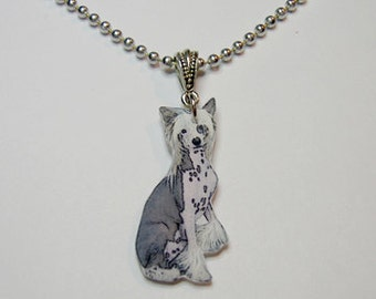 Handcrafted Plastic Chinese Crested Necklace Pendant