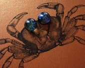 Blue dichroic fused glass post earrings