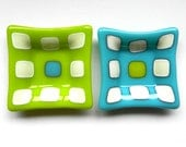 Turquoise and Lime Green fused glass mini plate set of two