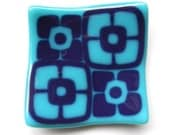 Dark Purple and Turquoise mod flowers fused glass mini plate
