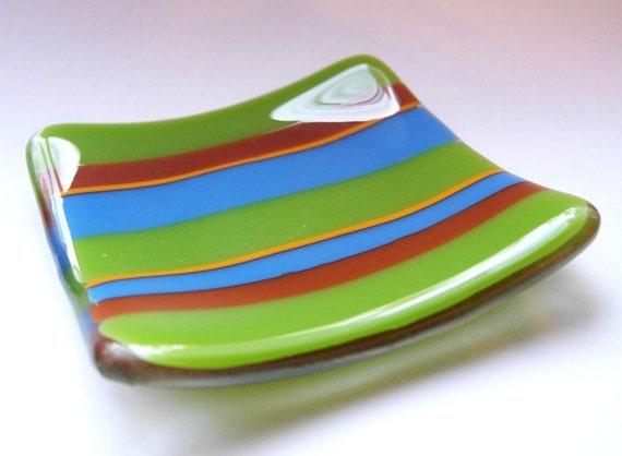 Green blue sienna fused glass mini plate