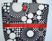 Classic Black and White Bag with hint of Red