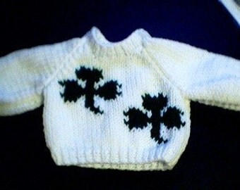 Handmade St Patricks Day Two Shamrocks Sweater for 15 inch Bitty Baby Doll