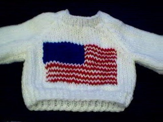 Handmade American Flag Sweater for 17-18 inch Build A Bear