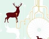 SALE - Tree, Deer screen printed poster