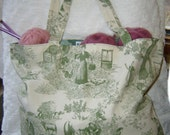 SASSY LARGE GREEN TOILE TOTE
