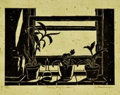 From My Window Original Hand-pulled woodcut relief print by Diane Cutter / SFA