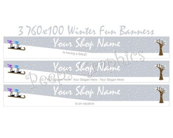 Shop Banner Set - 3 Winter Fun Banner Designs