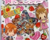 KAWAII CUTE STICKER FLAKES SACK - I LOVE GIRLY UNION JACK- from CRUX Japanese Anime - great for Scrapbooking Cardmaking Collage Decoupage and other craft projects