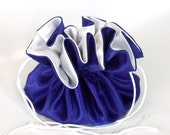 Drawstring Travel Tote, Jewelry  Bag  Medium  Royal Blue and White Satin