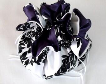 Wedding Bag...Satin Bridal Money Purse...Black and White Damask With Eggplant Llining...No Pockets