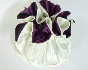 Wedding Bag, Dollar Dance Bag,   Satin Bridal Money Purse , Ivory and Eggplant, No Pockets