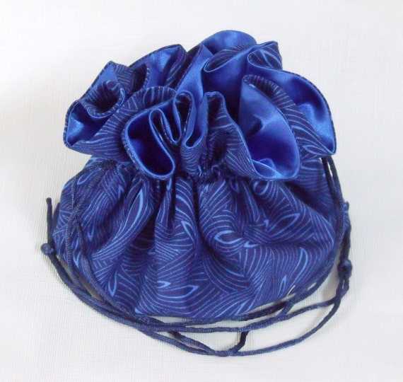 Jewelry drawstring bag pouch large isadora in blue for Drawstring jewelry bag pattern