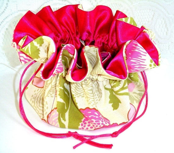 Drawstring Jewelry  Pouch Medium  Amy Butler Fresh Poppies in Fuchsia