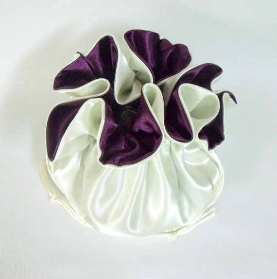 Wedding Bag  Satin Bridal Money Purse  Ivory and Eggplant No Pockets