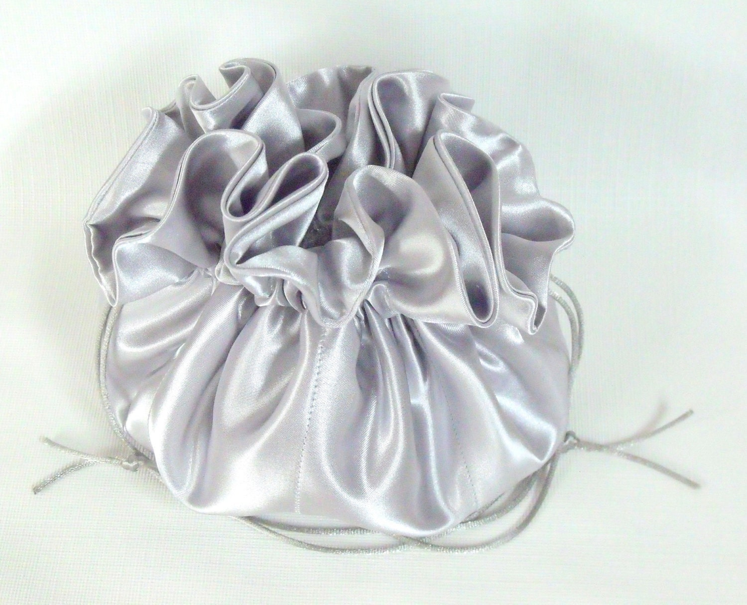 Satin Bridal Purse/Drawstring Bag Silver Design Your