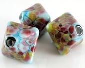 Lampwork Beads - XL Chunky Crystals Handmade Glass Beads 18mm - Blue, Gold, Pink, Purple - Mood Swings - SRA (Set of 3 Beads)