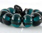 Transparent Dark Teal Spacer Beads - Handmade Lampwork Glass Beads 5mm - Green, Teal, Transparent - SRA (Set of 10 Spacer Beads)