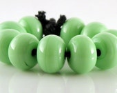 Mint Green Spacers - Handmade Lampwork Glass Spacer Beads 5mm - SRA (Set of 10 Spacer Beads)
