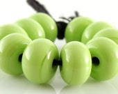 Lime Green Spacers - Handmade Lampwork Glass Beads 5mm - SRA (Set of 10 Spacer Beads)