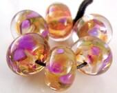 Encased Jewel Tones  - Lampwork Glass Rounds - Handmade Lampwork Beads - Purple, Gold, Orange - SRA (Set of 6 Beads)