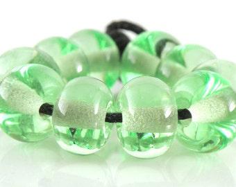 Light Emerald Green Spacers - Handmade Artisan Lampwork Glass Beads 5mmx9mm - SRA (Set of 10 Spacer Beads)