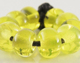Electric Yellow Spacers - Handmade Artisan Lampwork Glass Beads - 5mmx9mm SRA (Set of 10 Spacer Beads)