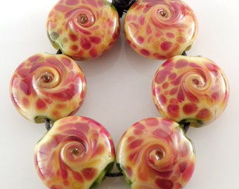 Fruit Salad - Lampwork Beads - Handmade Lampwork Glass 18mm Lentils -  Pink, Yellow, Green - SRA (Set of 6 Beads)