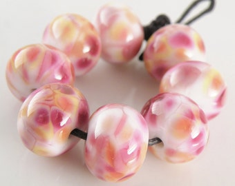 Flamingo Dancer - Handmade Artisan Lampwork Glass Round Beads 8mmx12mm - Pinks, Golds - SRA (Set of 8 Beads)