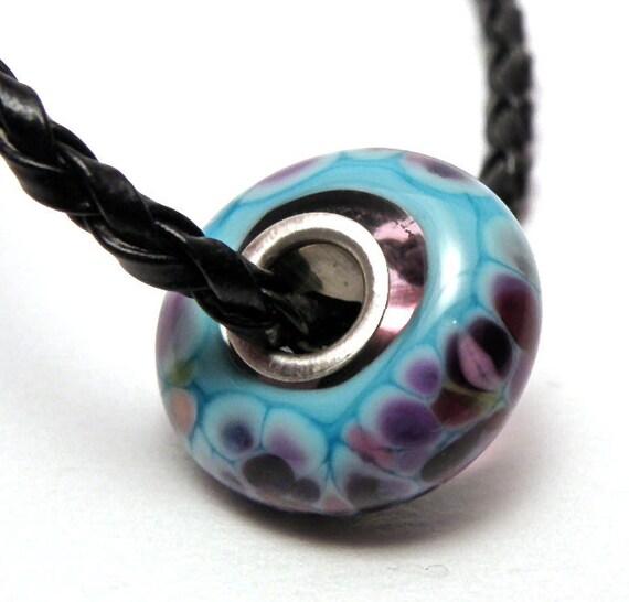 Blueberry Blitz Sterling Silver Lined Handmade Lampwork Glass European Charm Bracelet Bead