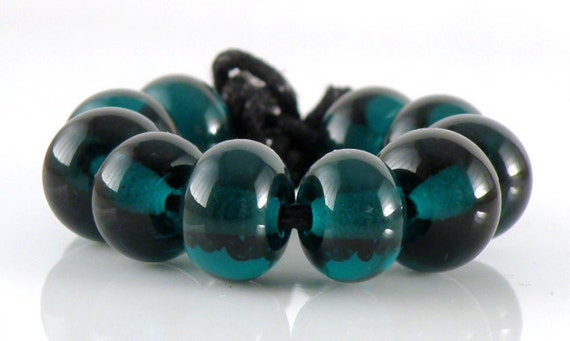 Transparent Dark Teal Spacer Beads - Handmade Lampwork Glass Beads 5mm - Green, Teal, Transparent - SRA (Set of 10 Spacer Beads)