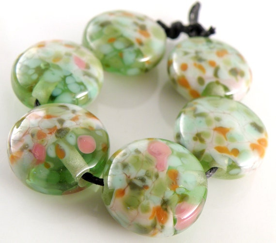 Spring Poppies - Handmade Lampwork Beads - Lampwork Glass Lentil Beads 18mm - Greens, Pinks, Orange - SRA (Set of 6 Beads)