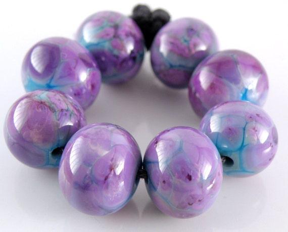 Purple People Eater - Handmade Lampwork Glass Round Beads - Purples, Pinks, Blues - SRA (Set of 8 Beads)