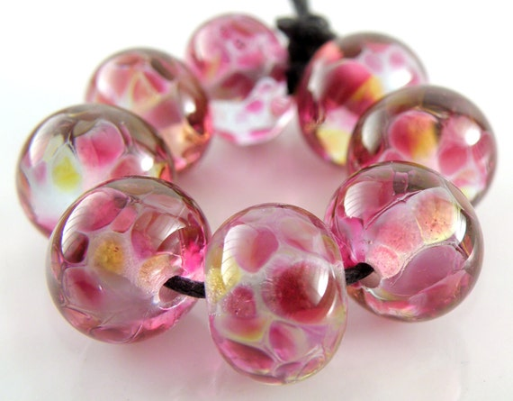 Blueberry Punch - Handmade Artisan Lampwork Glass Round Beads 8mmx12mm- Blues, Purples, Pinks - SRA (Set of 8 Beads)