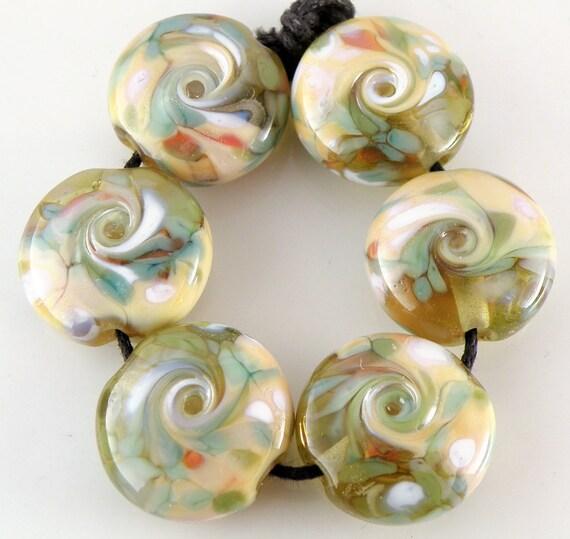 Desert Spring - Handmade Lampwork Beads - Lampwork Glass Lentil Beads 18mm - Green, Blue, Cream - SRA (Set of 6 Beads)
